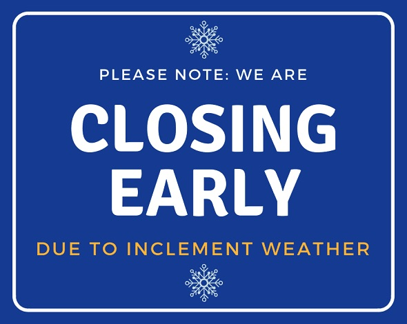 Office Closing Early & Pantry Closed Today Due to Inclement Weather